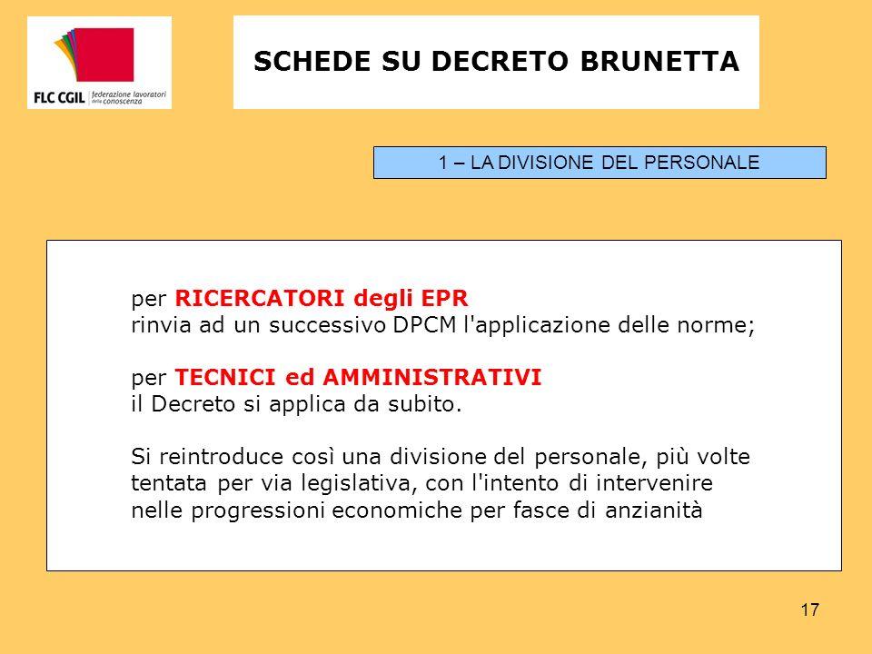 17 per RICERCATORI degli EPR rinvia ad un successivo DPCM l applicazione delle norme; per TECNICI ed AMMINISTRATIVI il Decreto si applica da subito.
