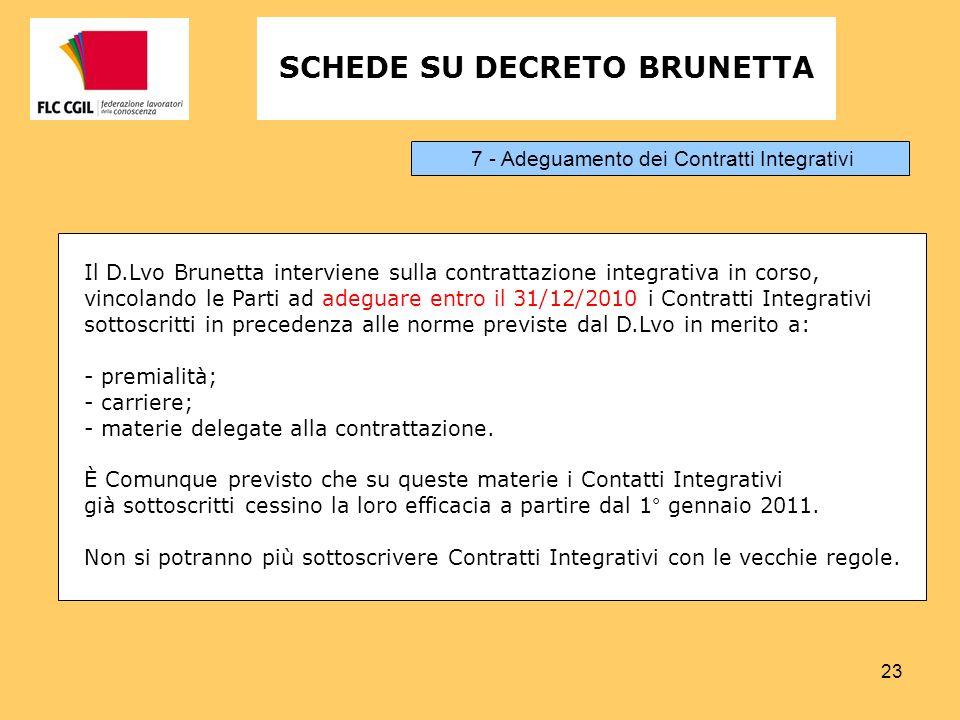 23 Il D.Lvo Brunetta interviene sulla contrattazione integrativa in corso, vincolando le Parti ad adeguare entro il 31/12/2010 i Contratti Integrativi sottoscritti in precedenza alle norme previste dal D.Lvo in merito a: - premialità; - carriere; - materie delegate alla contrattazione.