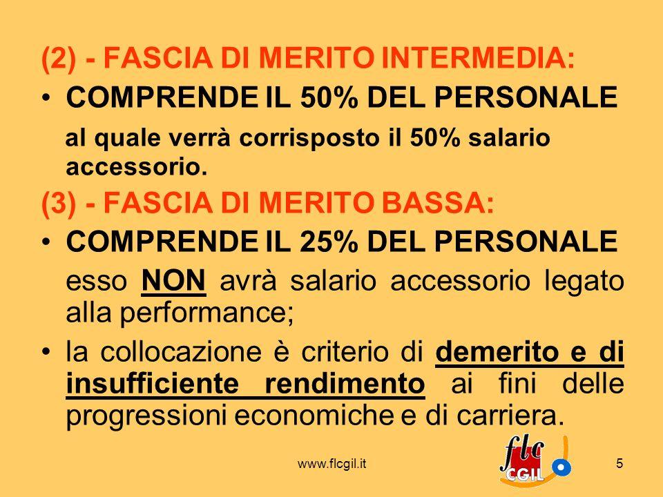 www.flcgil.it5 (2) - FASCIA DI MERITO INTERMEDIA: COMPRENDE IL 50% DEL PERSONALE al quale verrà corrisposto il 50% salario accessorio. (3) - FASCIA DI