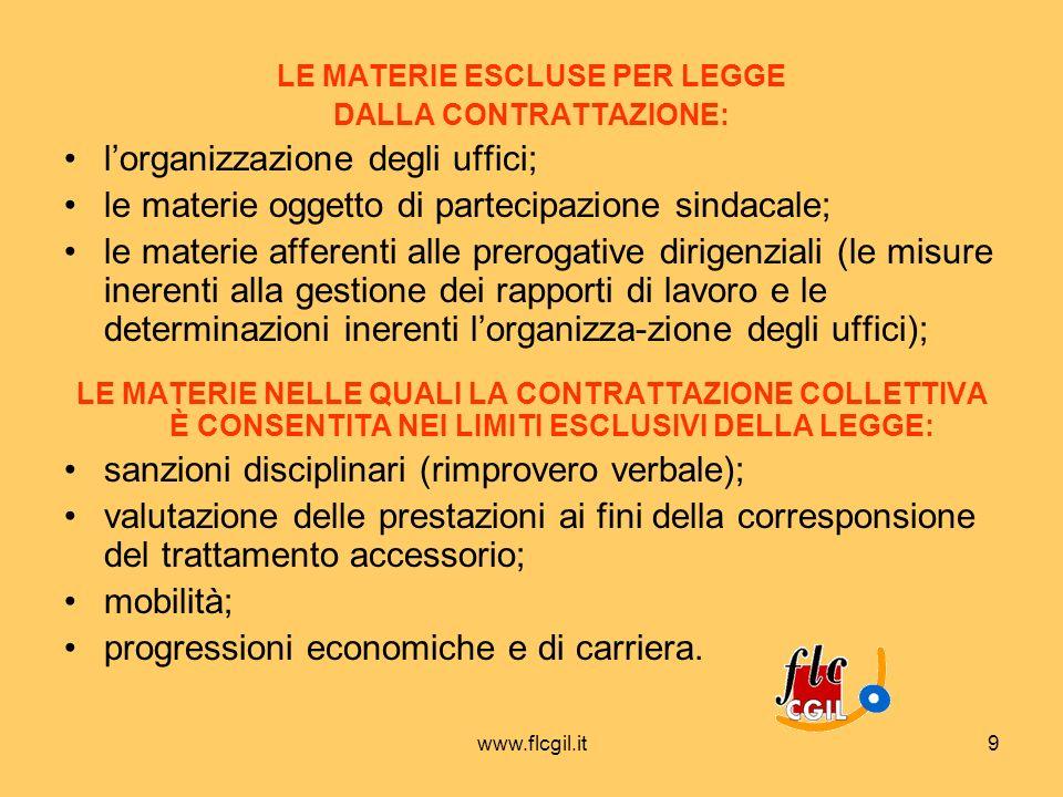 www.flcgil.it9 LE MATERIE ESCLUSE PER LEGGE DALLA CONTRATTAZIONE: lorganizzazione degli uffici; le materie oggetto di partecipazione sindacale; le mat