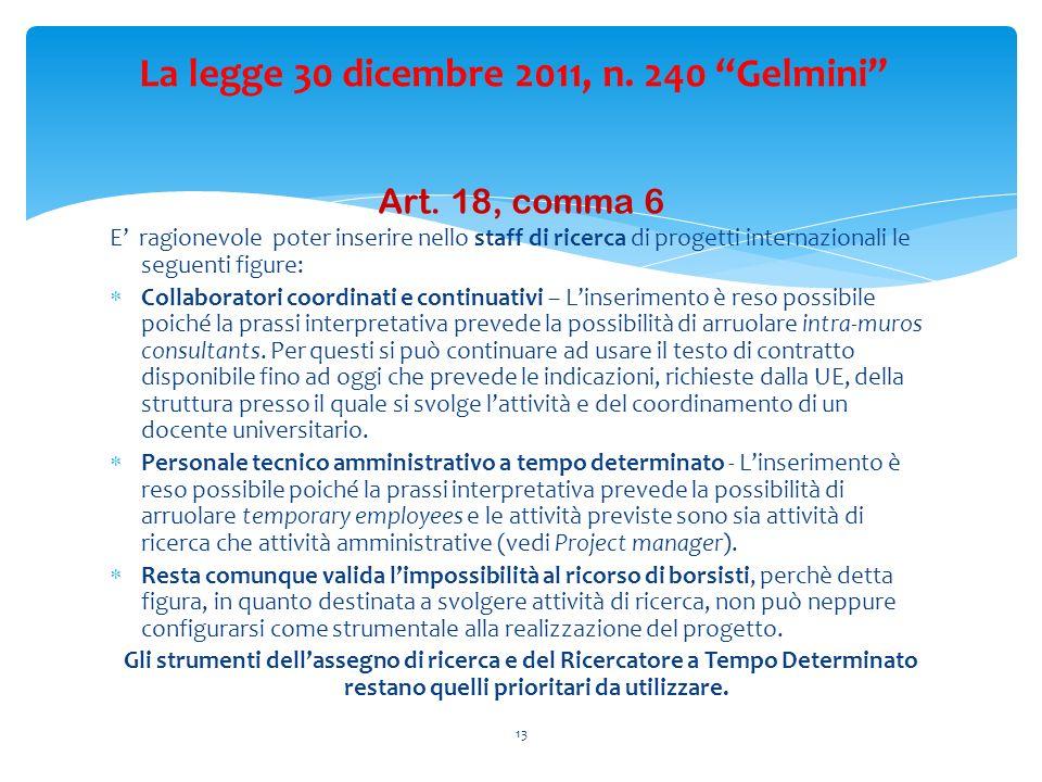 Art. 18, comma 6 E ragionevole poter inserire nello staff di ricerca di progetti internazionali le seguenti figure: Collaboratori coordinati e continu
