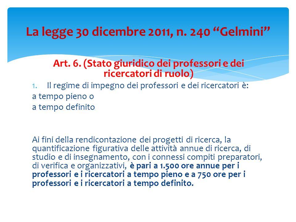 Art.6. (Stato giuridico dei professori e dei ricercatori di ruolo) 2.