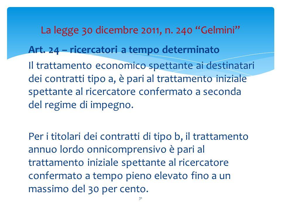 Art. 24 – ricercatori a tempo determinato Il trattamento economico spettante ai destinatari dei contratti tipo a, è pari al trattamento iniziale spett