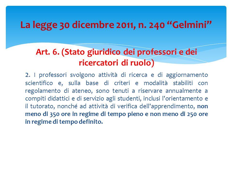 Art. 6. (Stato giuridico dei professori e dei ricercatori di ruolo) 2. I professori svolgono attività di ricerca e di aggiornamento scientifico e, sul