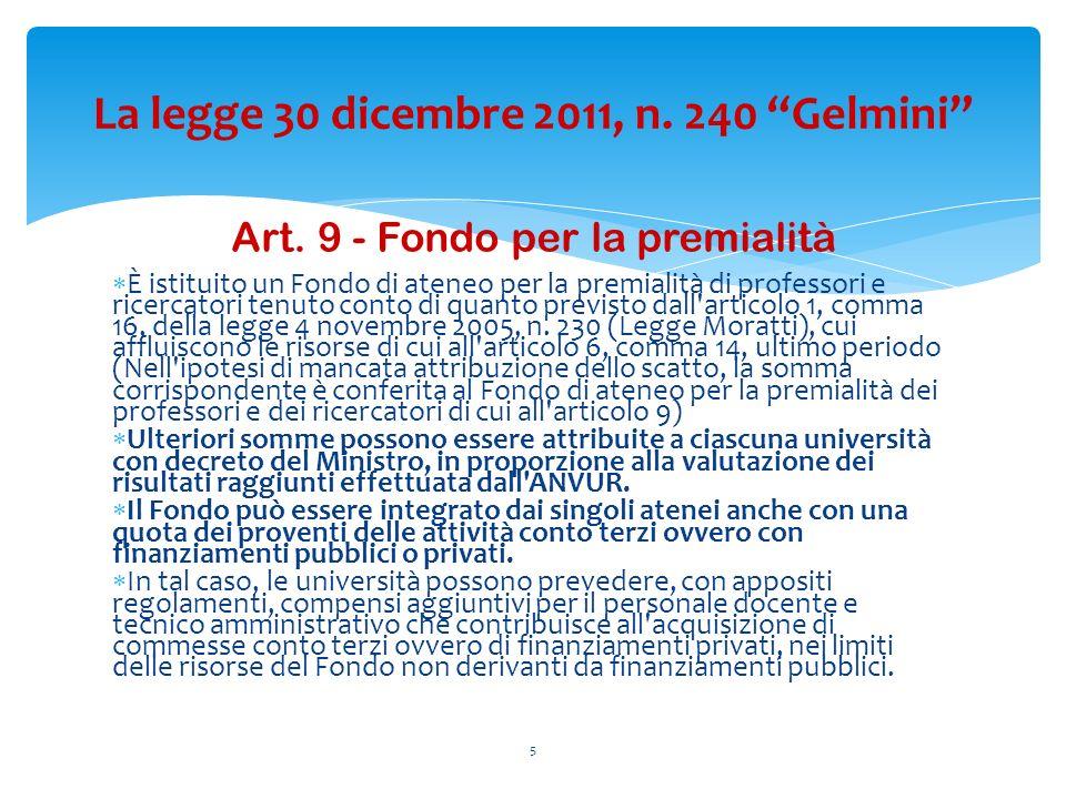 Art. 9 - Fondo per la premialità È istituito un Fondo di ateneo per la premialità di professori e ricercatori tenuto conto di quanto previsto dall'art