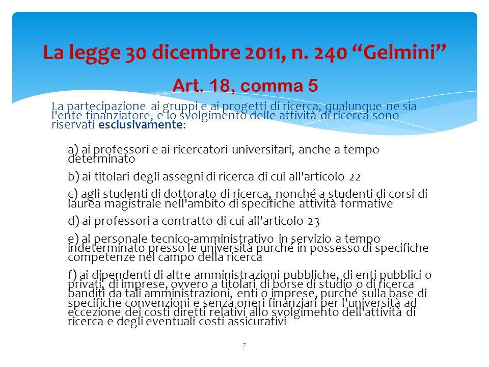 Art. 18, comma 5 La partecipazione ai gruppi e ai progetti di ricerca, qualunque ne sia l'ente finanziatore, e lo svolgimento delle attività di ricerc