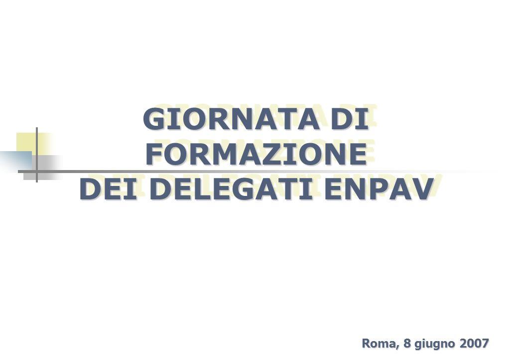 GIORNATA DI FORMAZIONE DEI DELEGATI ENPAV Roma, 8 giugno 2007