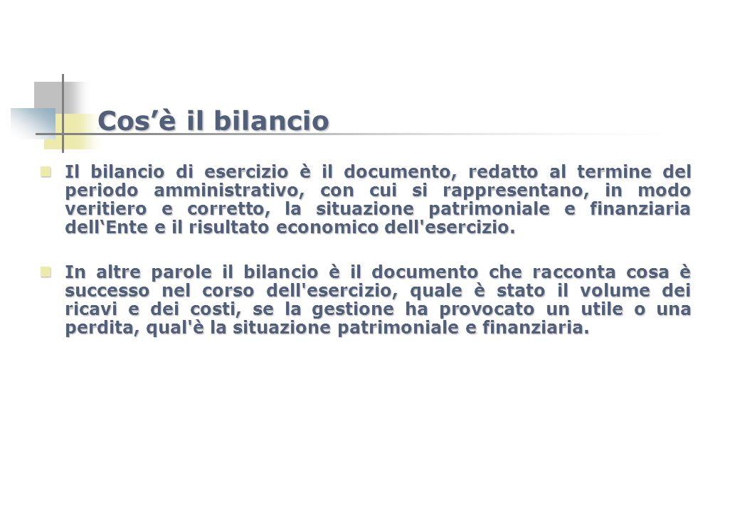 Cosè il bilancio Il bilancio di esercizio è il documento, redatto al termine del periodo amministrativo, con cui si rappresentano, in modo veritiero e