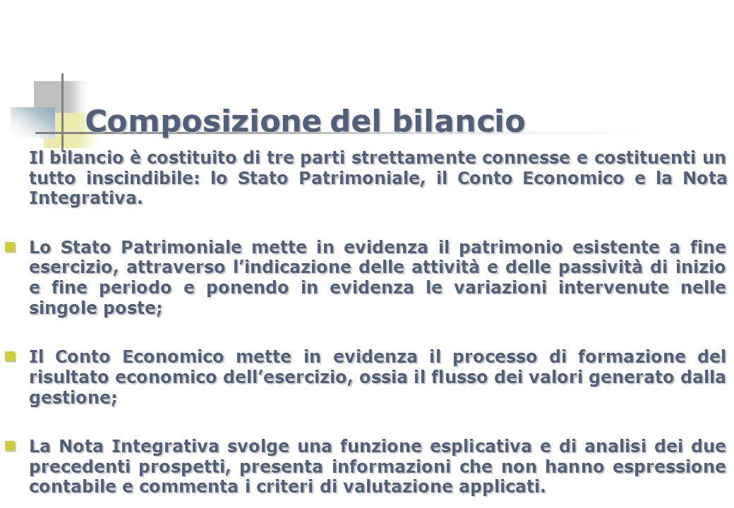 Composizione del bilancio Il bilancio è costituito di tre parti strettamente connesse e costituenti un tutto inscindibile: lo Stato Patrimoniale, il C