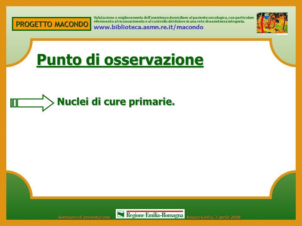 PROGETTO MACONDO Punto di osservazione Punto di osservazione Nuclei di cure primarie.
