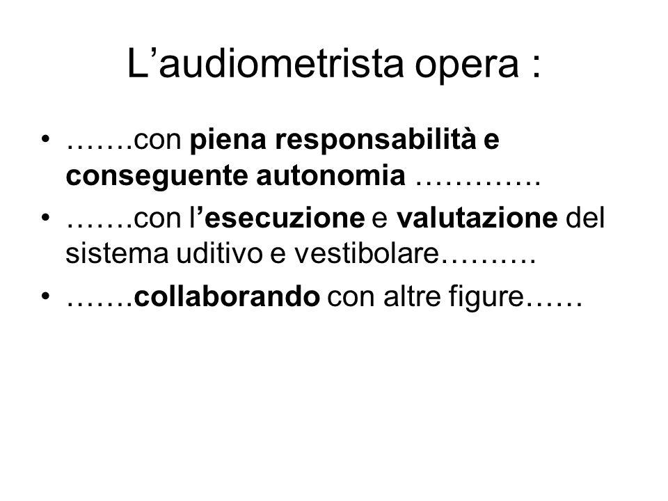 Laudiometrista opera : …….con piena responsabilità e conseguente autonomia …………. …….con lesecuzione e valutazione del sistema uditivo e vestibolare………
