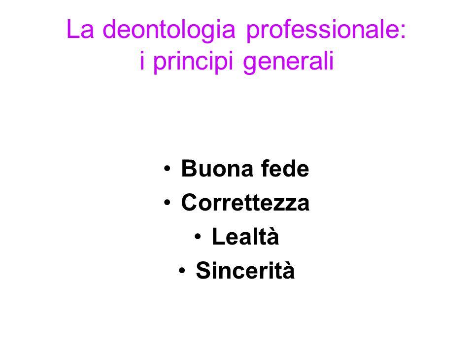 La deontologia professionale: i principi generali Buona fede Correttezza Lealtà Sincerità
