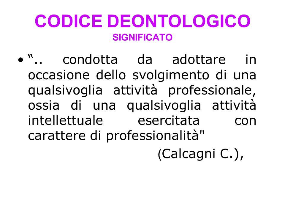 CODICE DEONTOLOGICO SIGNIFICATO..