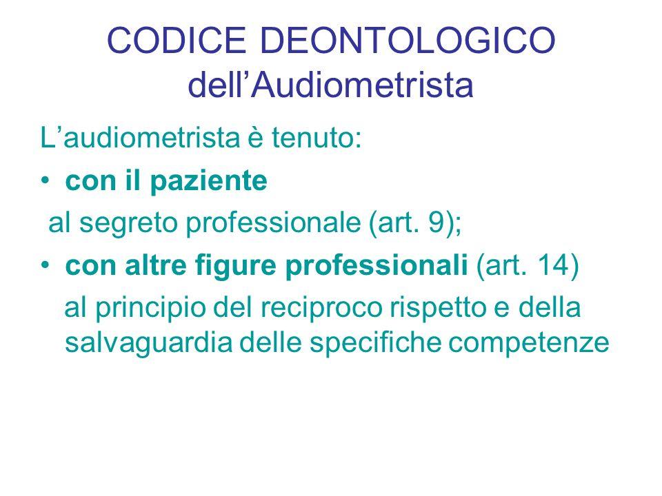 CODICE DEONTOLOGICO dellAudiometrista Laudiometrista è tenuto: con il paziente al segreto professionale (art. 9); con altre figure professionali (art.