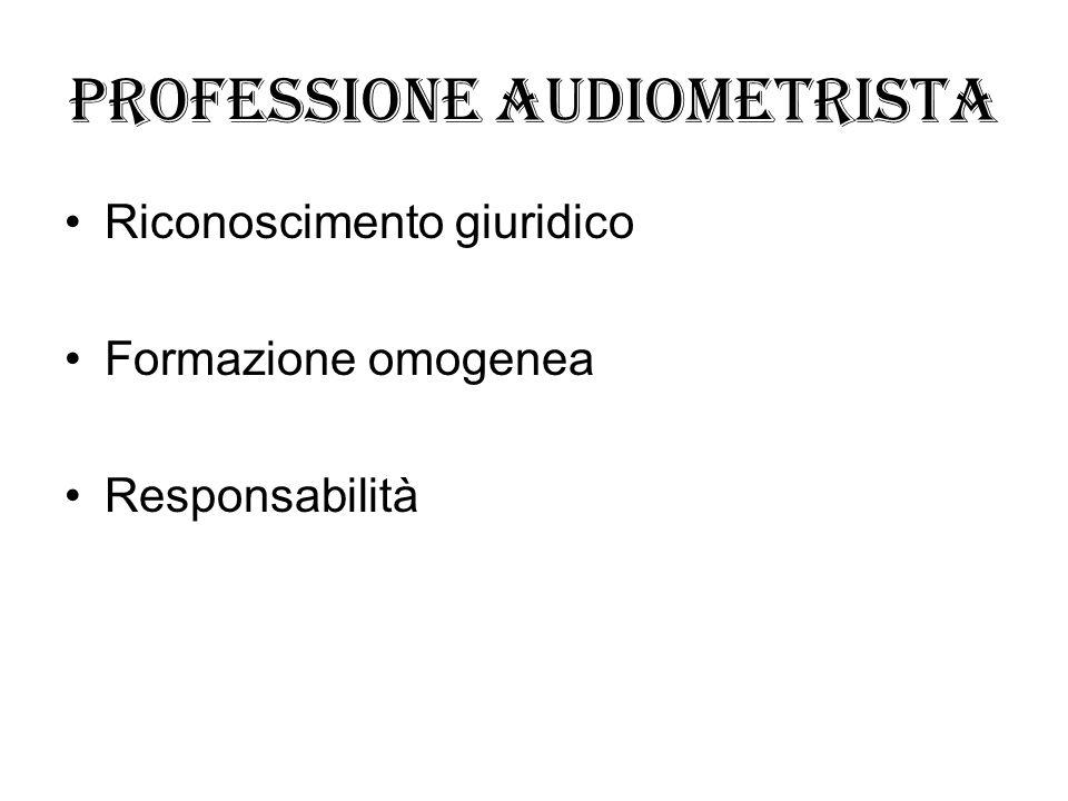 Professione audiometrista Riconoscimento giuridico Formazione omogenea Responsabilità