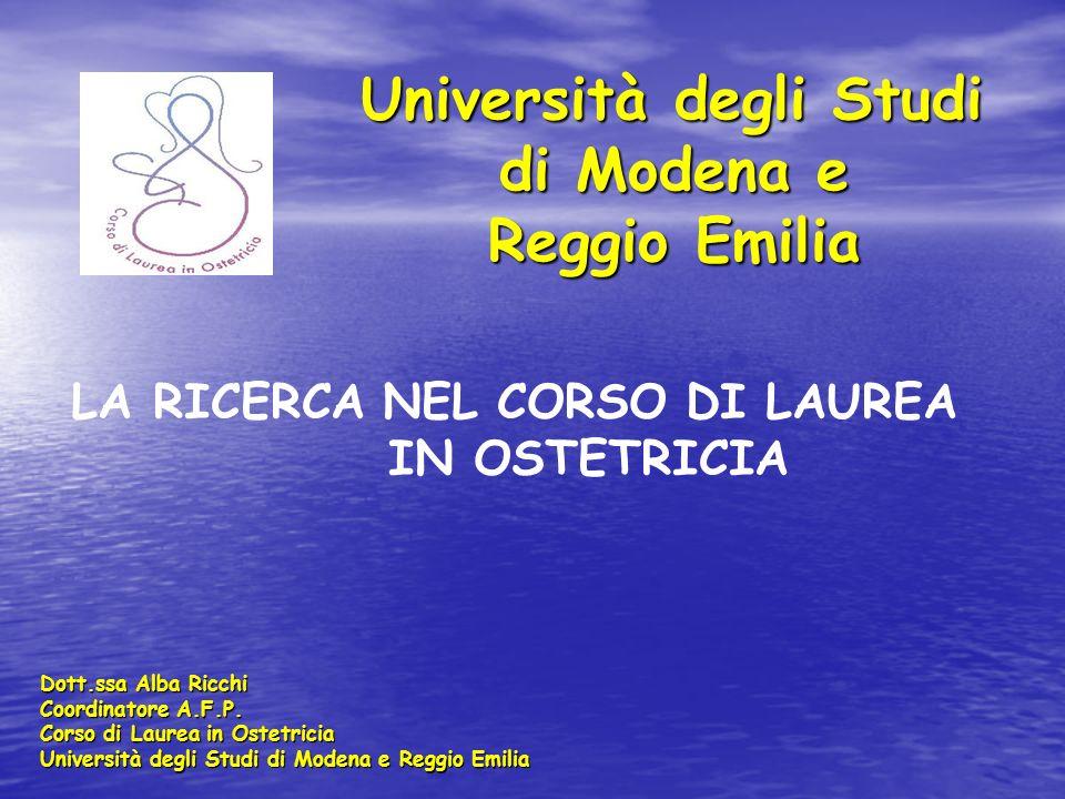 Università degli Studi di Modena e Reggio Emilia Università degli Studi di Modena e Reggio Emilia Dott.ssa Alba Ricchi Coordinatore A.F.P. Corso di La