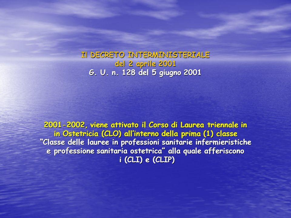 Il DECRETO INTERMINISTERIALE del 2 aprile 2001 G. U. n. 128 del 5 giugno 2001 2001-2002, viene attivato il Corso di Laurea triennale in in Ostetricia