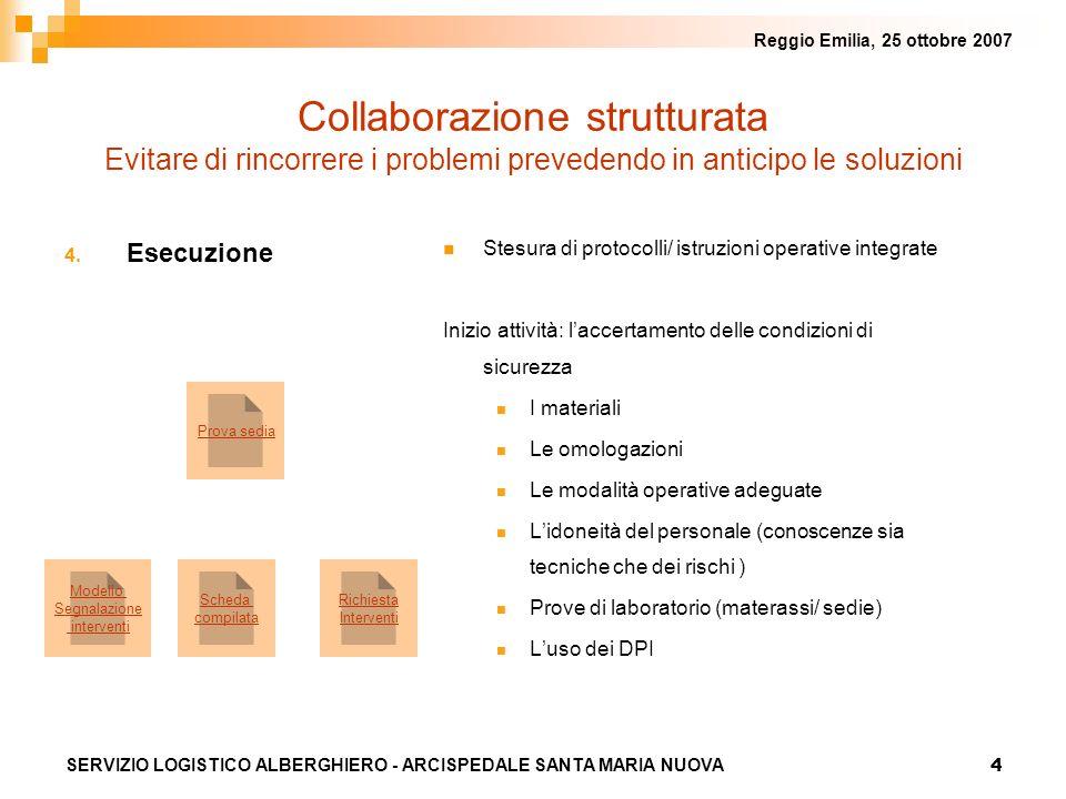 4 Reggio Emilia, 25 ottobre 2007 SERVIZIO LOGISTICO ALBERGHIERO - ARCISPEDALE SANTA MARIA NUOVA 4. Esecuzione Stesura di protocolli/ istruzioni operat