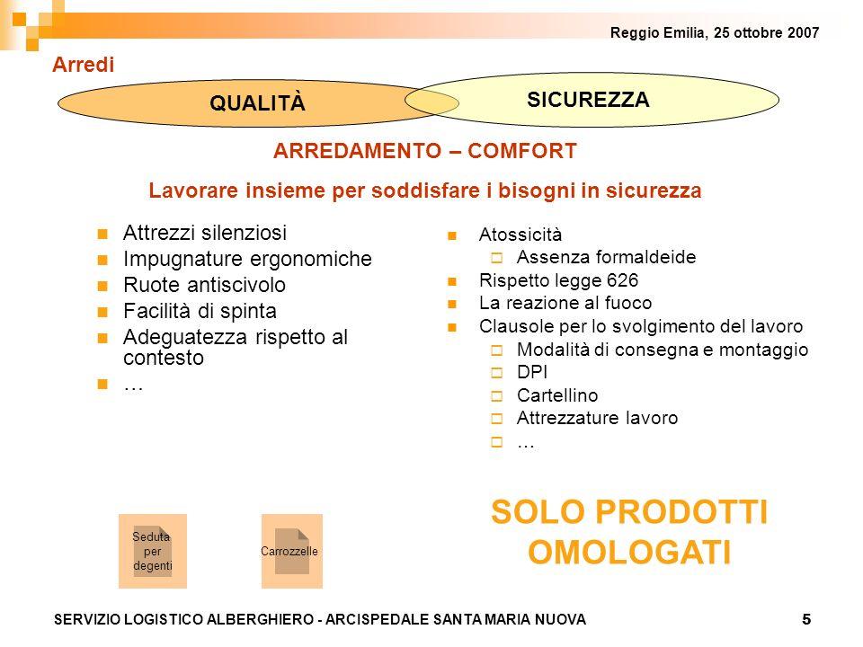 5 Reggio Emilia, 25 ottobre 2007 SERVIZIO LOGISTICO ALBERGHIERO - ARCISPEDALE SANTA MARIA NUOVA Arredi Attrezzi silenziosi Impugnature ergonomiche Ruo