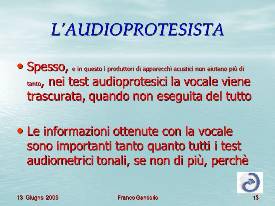 13 Giugno 2009Franco Gandolfo13 LAUDIOPROTESISTA Spesso, e in questo i produttori di apparecchi acustici non aiutano più di tanto, nei test audioprotesici la vocale viene trascurata, quando non eseguita del tutto Spesso, e in questo i produttori di apparecchi acustici non aiutano più di tanto, nei test audioprotesici la vocale viene trascurata, quando non eseguita del tutto Le informazioni ottenute con la vocale sono importanti tanto quanto tutti i test audiometrici tonali, se non di più, perchè Le informazioni ottenute con la vocale sono importanti tanto quanto tutti i test audiometrici tonali, se non di più, perchè