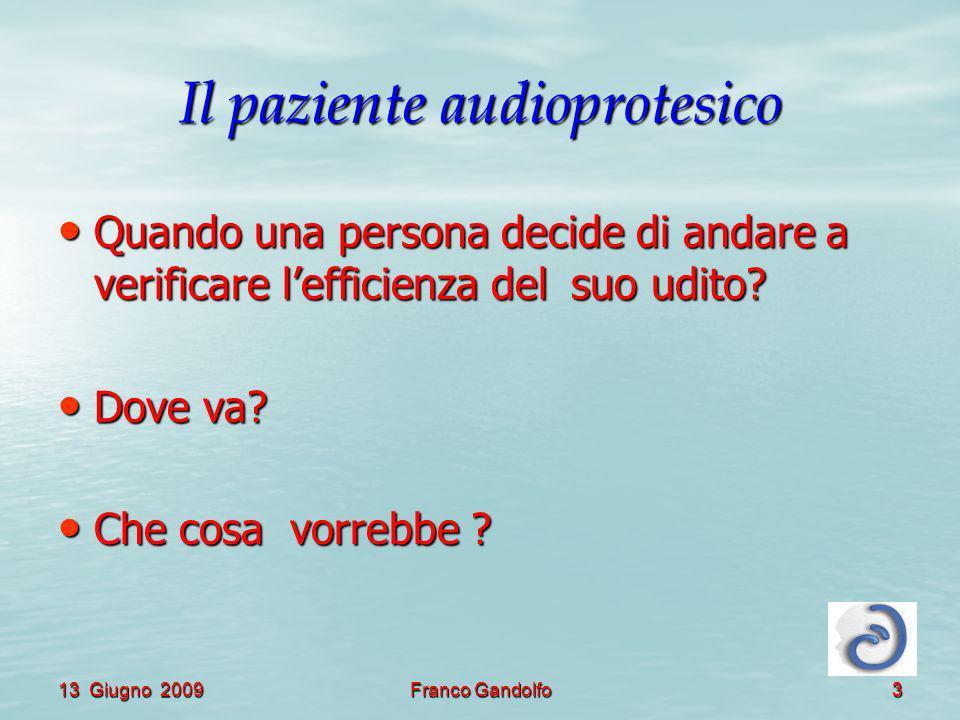 13 Giugno 2009Franco Gandolfo3 Il paziente audioprotesico Quando una persona decide di andare a verificare lefficienza del suo udito? Quando una perso