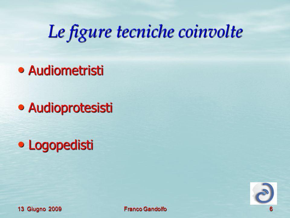 13 Giugno 2009Franco Gandolfo6 Le figure tecniche coinvolte Audiometristi Audiometristi Audioprotesisti Audioprotesisti Logopedisti Logopedisti