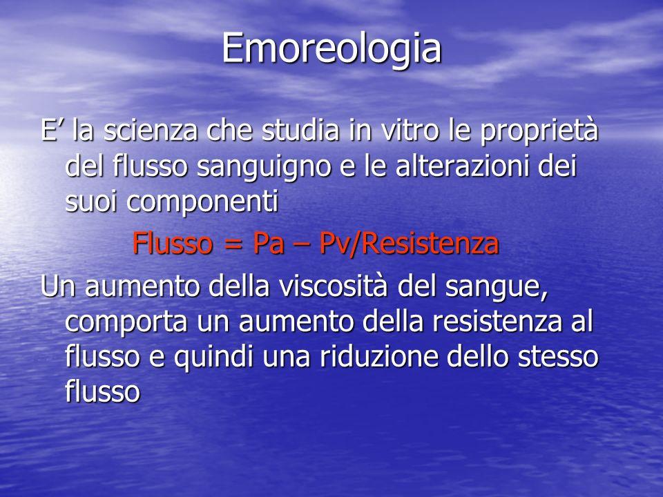 Emoreologia E la scienza che studia in vitro le proprietà del flusso sanguigno e le alterazioni dei suoi componenti Flusso = Pa – Pv/Resistenza Flusso