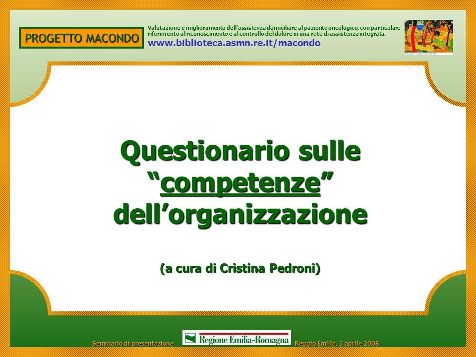 PROGETTO MACONDO Questionario sulle competenze dellorganizzazionecompetenze dellorganizzazione (a cura di Cristina Pedroni) Valutazione e migliorament