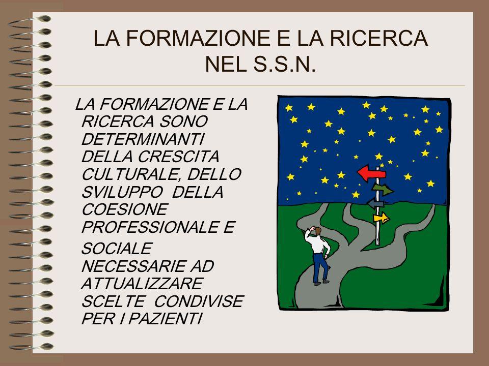 LA FORMAZIONE E LA RICERCA NEL S.S.N.