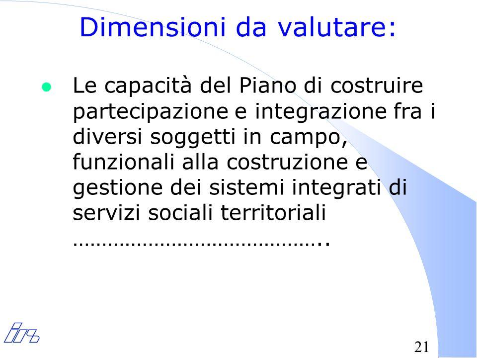 21 Dimensioni da valutare: l Le capacità del Piano di costruire partecipazione e integrazione fra i diversi soggetti in campo, funzionali alla costruzione e gestione dei sistemi integrati di servizi sociali territoriali ……………………………………..
