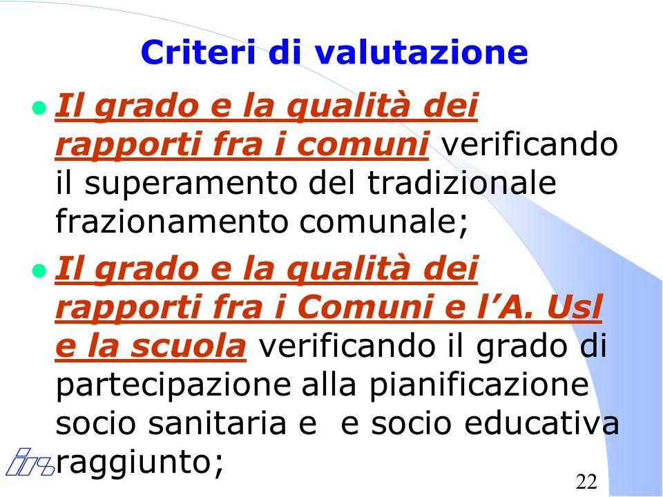22 Criteri di valutazione l Il grado e la qualità dei rapporti fra i comuni verificando il superamento del tradizionale frazionamento comunale; l Il grado e la qualità dei rapporti fra i Comuni e lA.