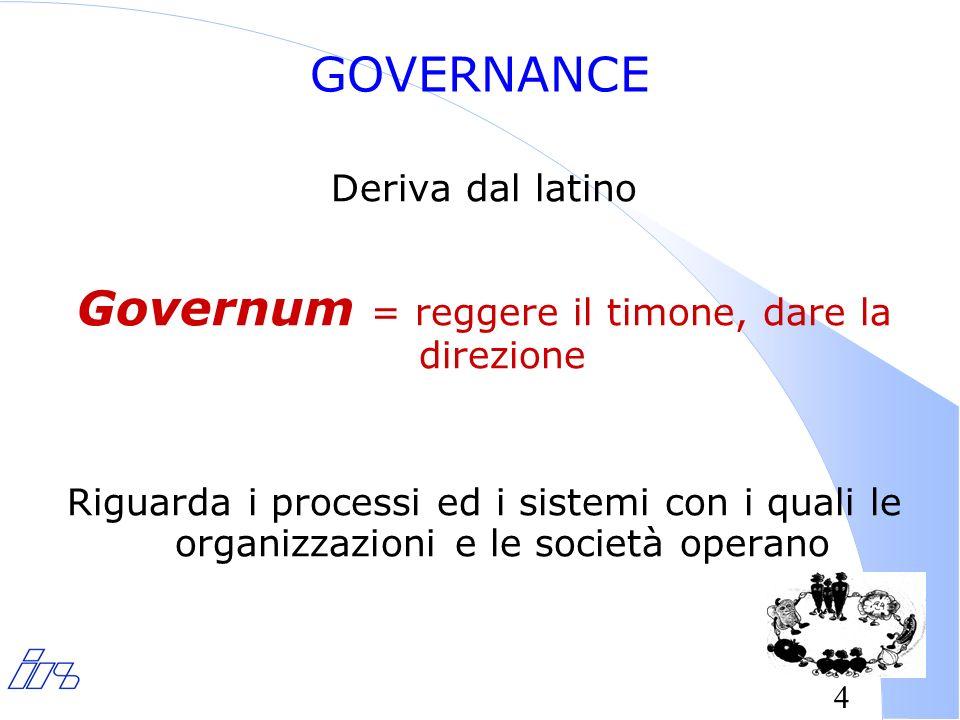 4 GOVERNANCE Deriva dal latino Governum = reggere il timone, dare la direzione Riguarda i processi ed i sistemi con i quali le organizzazioni e le società operano