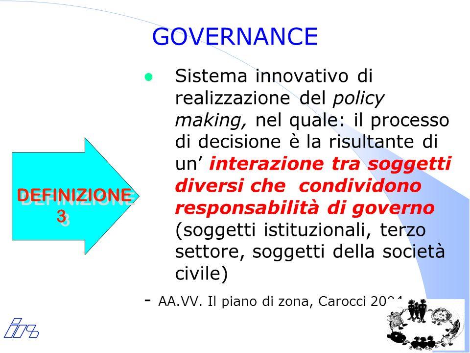 7 GOVERNANCE l Sistema innovativo di realizzazione del policy making, nel quale: il processo di decisione è la risultante di un interazione tra soggetti diversi che condividono responsabilità di governo (soggetti istituzionali, terzo settore, soggetti della società civile) - AA.VV.