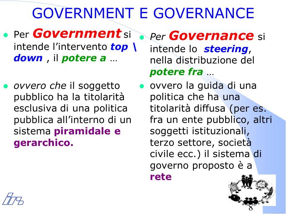 8 l Per Government si intende lintervento top \ down, il potere a … l ovvero che il soggetto pubblico ha la titolarità esclusiva di una politica pubblica allinterno di un sistema piramidale e gerarchico.