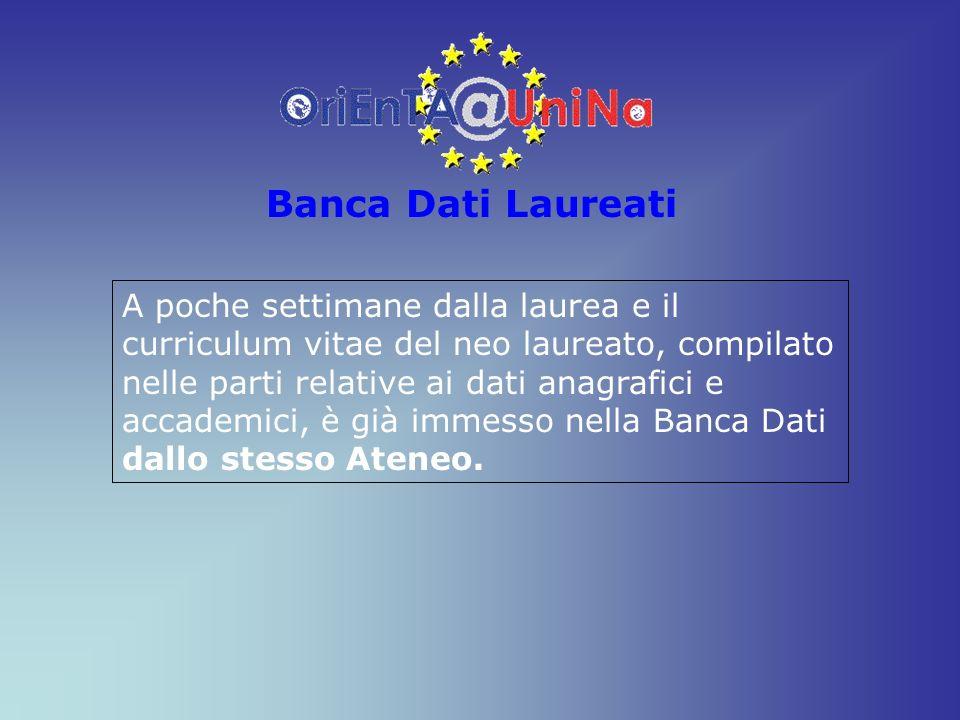 Banca Dati Laureati A poche settimane dalla laurea e il curriculum vitae del neo laureato, compilato nelle parti relative ai dati anagrafici e accadem