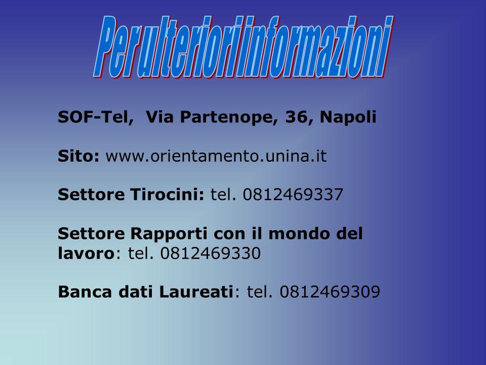 SOF-Tel, Via Partenope, 36, Napoli Sito: www.orientamento.unina.it Settore Tirocini: tel. 0812469337 Settore Rapporti con il mondo del lavoro: tel. 08