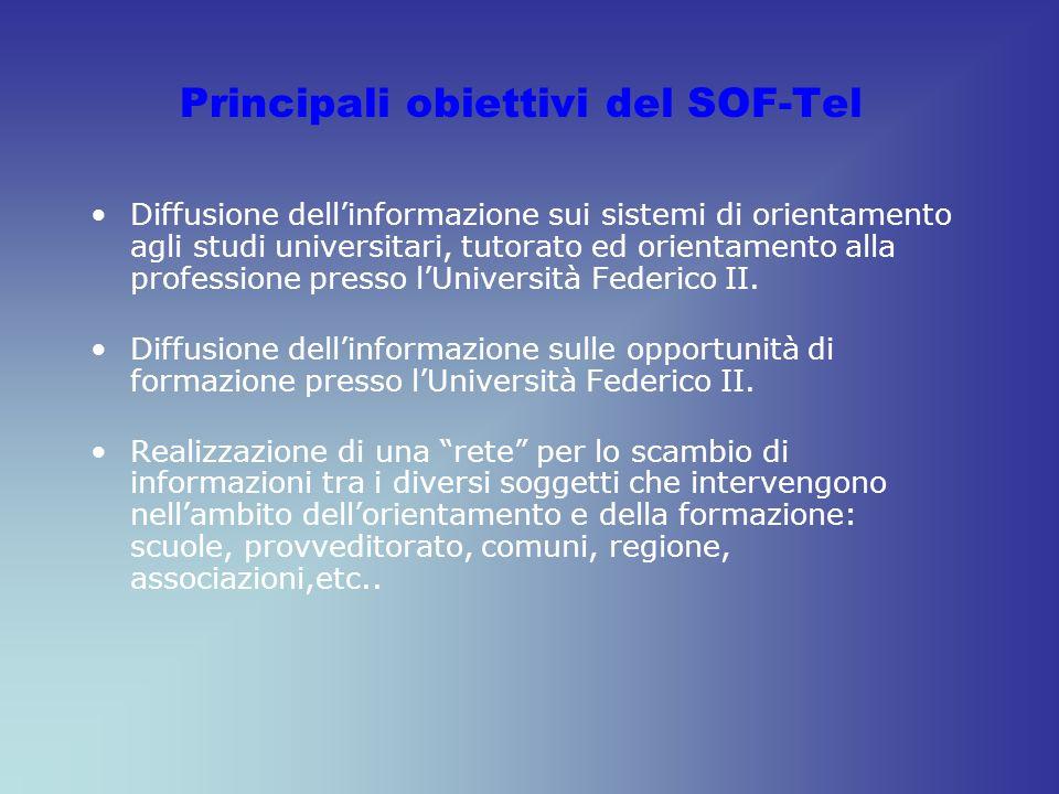 Principali obiettivi del SOF-Tel Diffusione dellinformazione sui sistemi di orientamento agli studi universitari, tutorato ed orientamento alla professione presso lUniversità Federico II.
