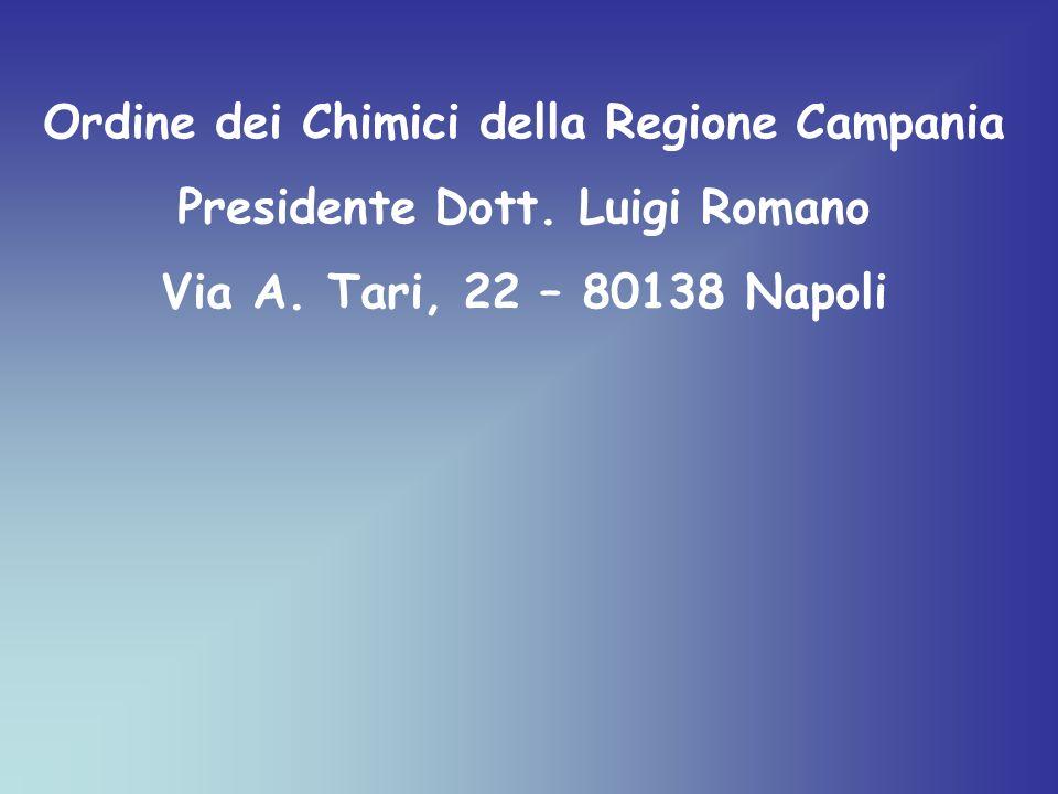 Ordine dei Chimici della Regione Campania Presidente Dott. Luigi Romano Via A. Tari, 22 – 80138 Napoli
