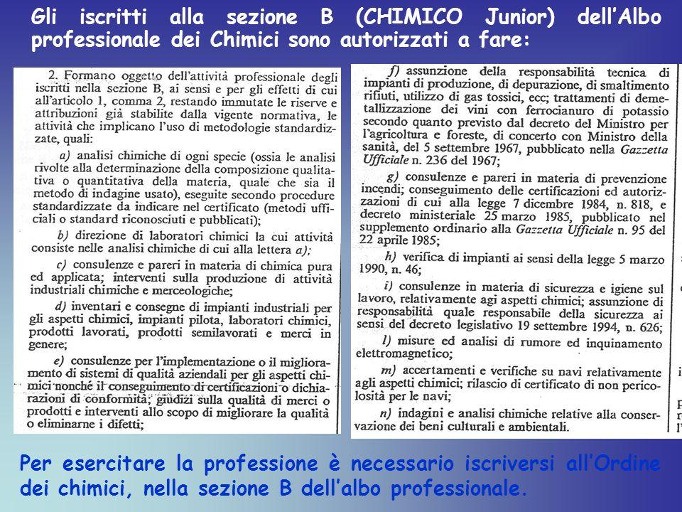 Gli iscritti alla sezione B (CHIMICO Junior) dellAlbo professionale dei Chimici sono autorizzati a fare: Per esercitare la professione è necessario is