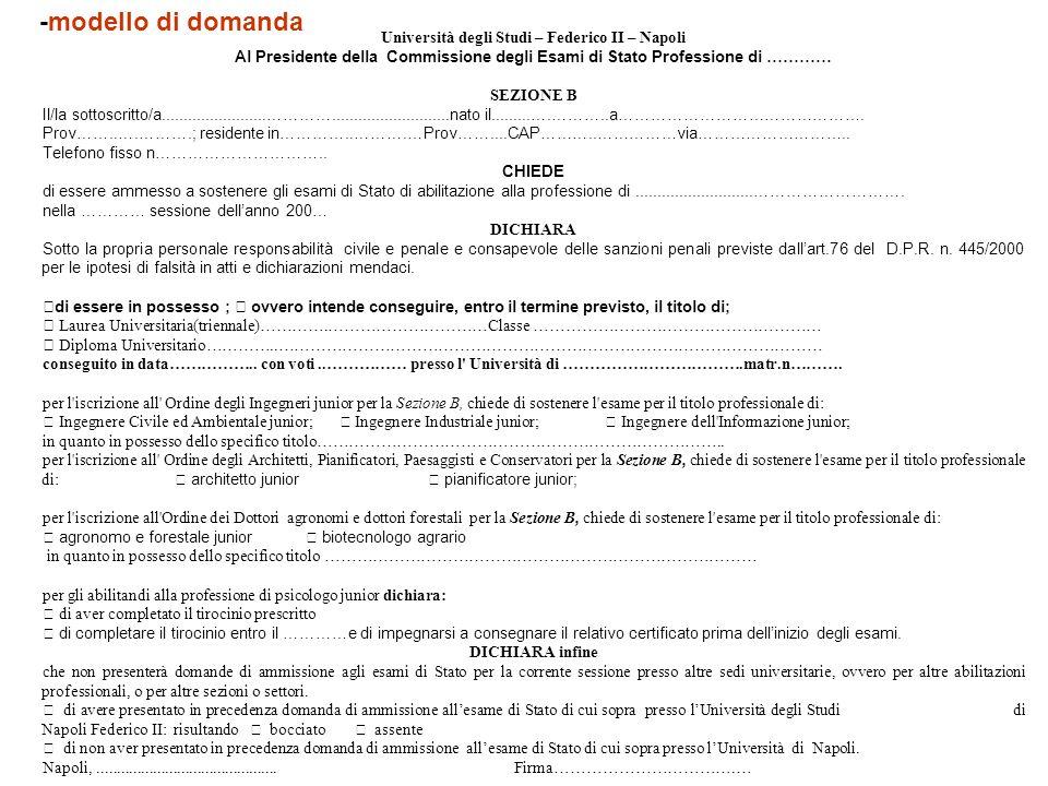 Università degli Studi – Federico II – Napoli Al Presidente della Commissione degli Esami di Stato Professione di ………… SEZIONE B Il/la sottoscritto/a.