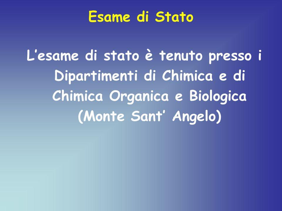 Esame di Stato Lesame di stato è tenuto presso i Dipartimenti di Chimica e di Chimica Organica e Biologica (Monte Sant Angelo)