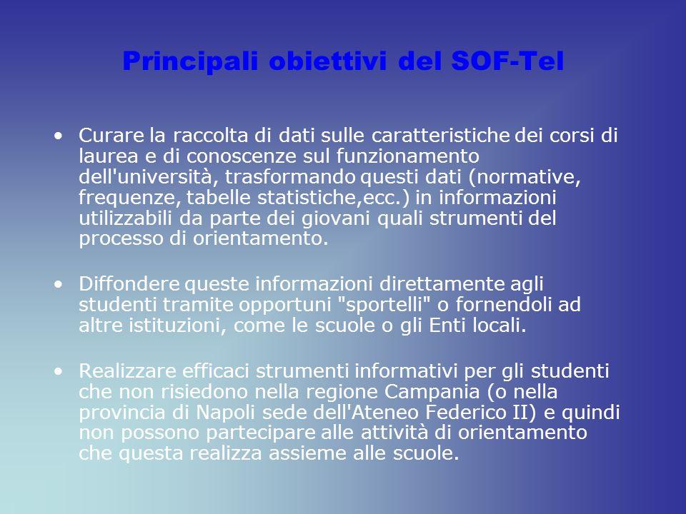 Principali obiettivi del SOF-Tel Curare la raccolta di dati sulle caratteristiche dei corsi di laurea e di conoscenze sul funzionamento dell'universit