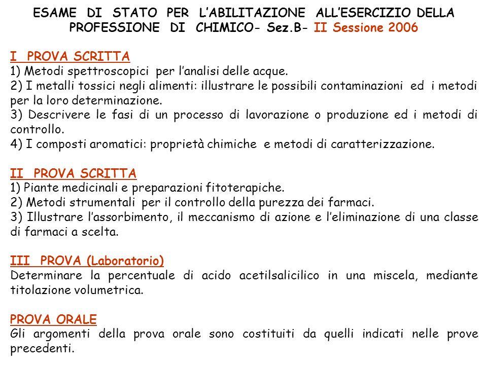 ESAME DI STATO PER LABILITAZIONE ALLESERCIZIO DELLA PROFESSIONE DI CHIMICO- Sez.B- II Sessione 2006 I PROVA SCRITTA 1) Metodi spettroscopici per lanalisi delle acque.