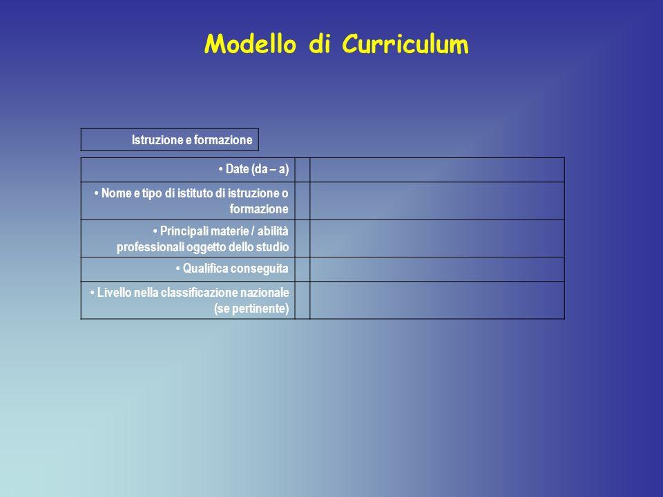 Istruzione e formazione Date (da – a) Nome e tipo di istituto di istruzione o formazione Principali materie / abilità professionali oggetto dello stud