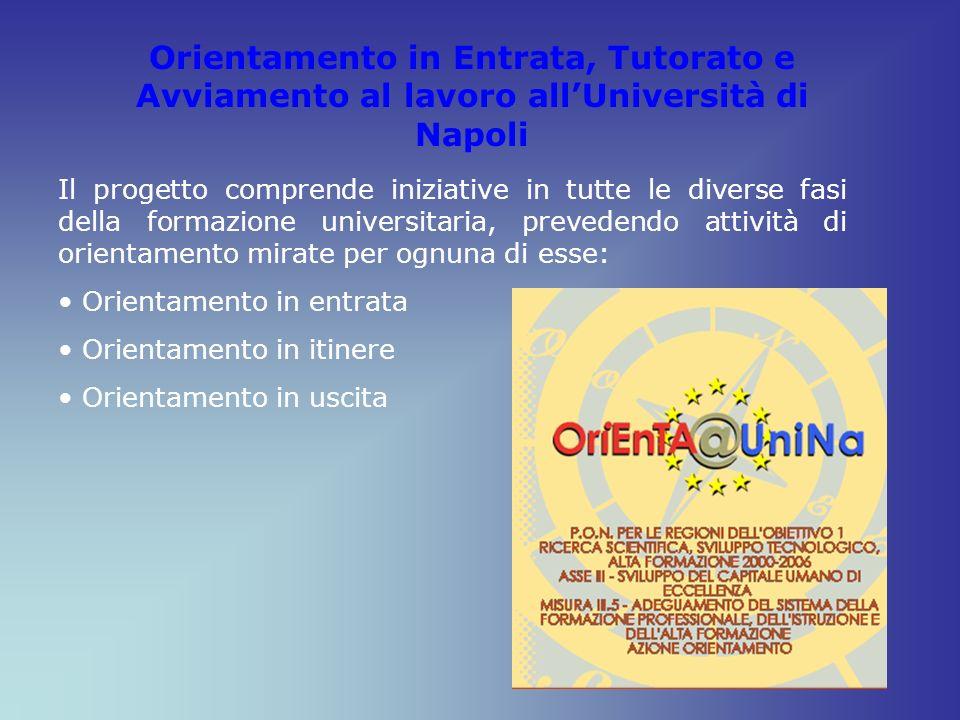 Orientamento in Entrata, Tutorato e Avviamento al lavoro allUniversità di Napoli Il progetto comprende iniziative in tutte le diverse fasi della forma