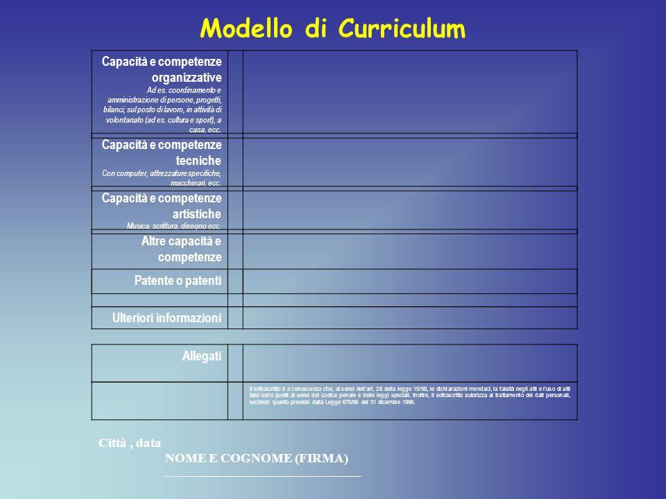 Capacità e competenze organizzative Ad es.