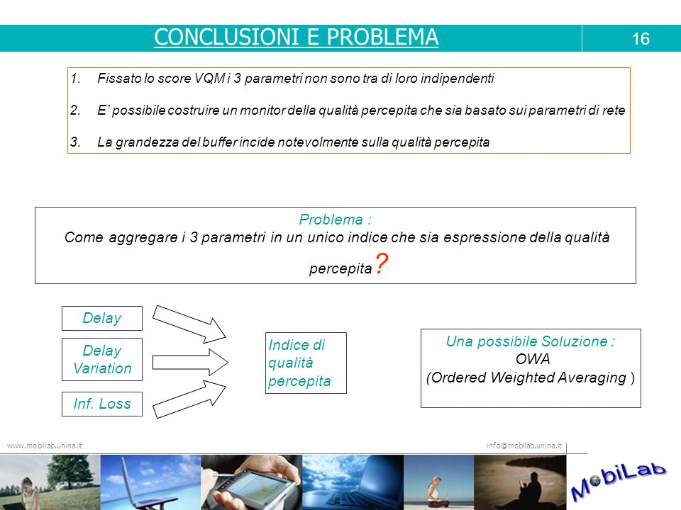 info@mobilab.unina.it www.mobilab.unina.it 1.Fissato lo score VQM i 3 parametri non sono tra di loro indipendenti 2.E possibile costruire un monitor d