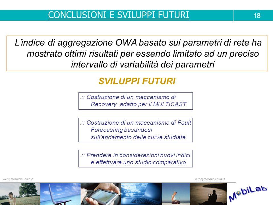 info@mobilab.unina.it www.mobilab.unina.it Lindice di aggregazione OWA basato sui parametri di rete ha mostrato ottimi risultati per essendo limitato