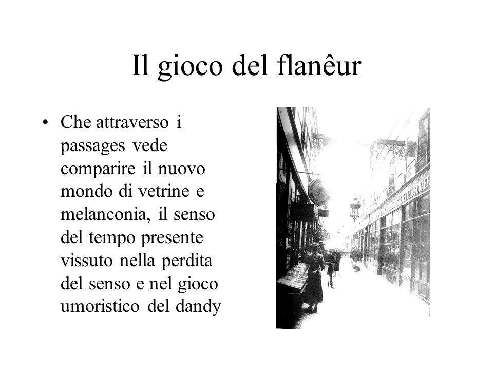Il gioco del flanêur Che attraverso i passages vede comparire il nuovo mondo di vetrine e melanconia, il senso del tempo presente vissuto nella perdit
