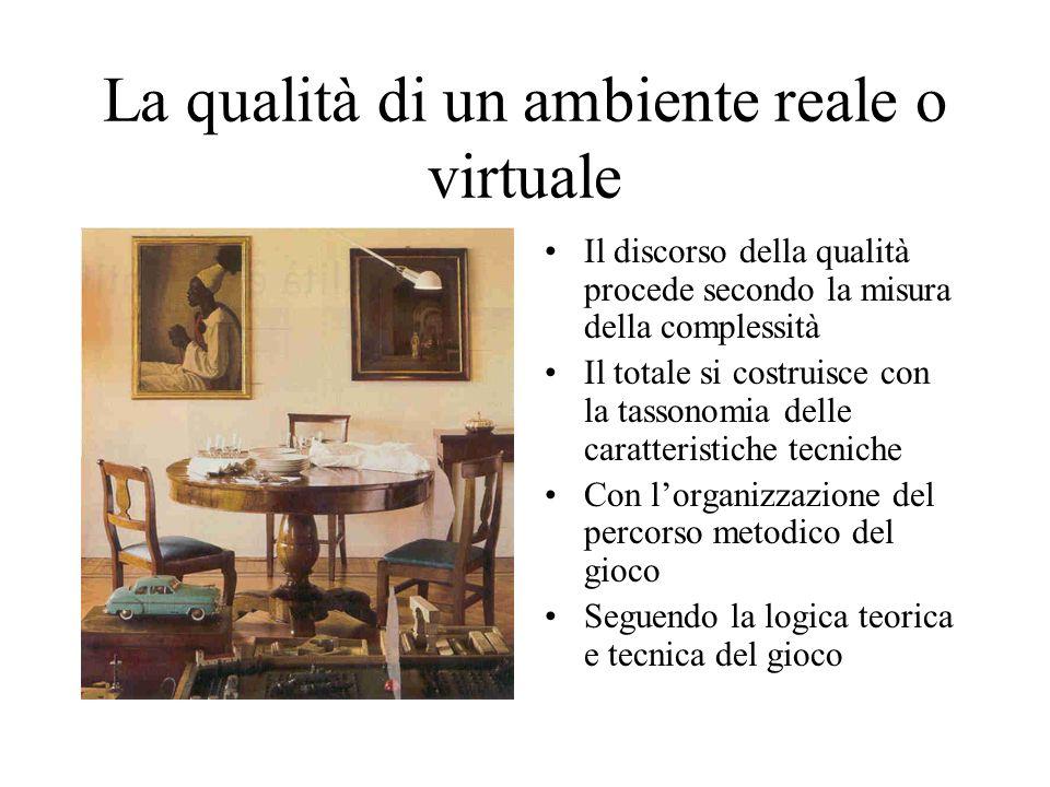 La qualità di un ambiente reale o virtuale Il discorso della qualità procede secondo la misura della complessità Il totale si costruisce con la tasson